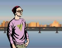Jongens hipster karakter, vectorillustratiemens op stadsachtergrond Royalty-vrije Stock Afbeeldingen