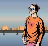 Jongens hipster karakter, vectorillustratiemens op stadsachtergrond Stock Foto