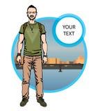 Jongens hipster karakter, vectorillustratiemens op stadsachtergrond Royalty-vrije Stock Fotografie