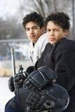 Jongens in hockeyuniformen. Royalty-vrije Stock Afbeelding