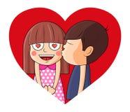 Jongens kussend meisje op hart De vectorillustratie van Valentine stock illustratie
