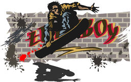 Jongens op skateboards Stock Foto's