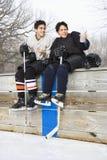 Jongens in sportuitrusting. Stock Foto