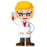 Jongensbeeldverhaal die chemisch experiment doen royalty-vrije illustratie