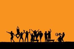 Jongensgroep in de schaduw Stock Foto