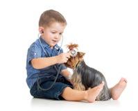 Jongensjong geitje die hond onderzoeken als arts royalty-vrije stock foto