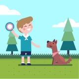 Jongensjong geitje speel het vliegen schijf trow vangst met een hond stock illustratie