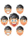 Jongenskarakter, het portret van gezichtsuitdrukkingen Royalty-vrije Stock Foto