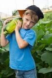Jongenspompoen in de handen Oogstende groenten royalty-vrije stock afbeelding