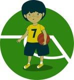 Jongensvoetballer met de bal in zijn hand op het voetbalgebied Stock Illustratie