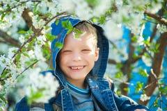 Jongenszitting onder takken van de lenteboom in bloesems Stock Foto's
