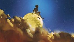 Jongenszitting op de gloeiende maan achter wolken in nachthemel royalty-vrije illustratie