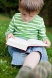 Jongenszitting op groen gras en lezing royalty-vrije stock afbeeldingen