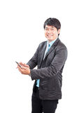 Jonger het bedrijfsmens toothy glimlachen gezicht met gelukemotie stock foto's
