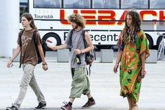 Jongeren die aan de actie voor het legaliseren van lichte drugs in Duitsland, Berlijn, Duitsland, 09.07.2014 deelnemen Royalty-vrije Stock Foto