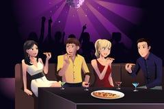 Jongeren die pizza eten royalty-vrije illustratie