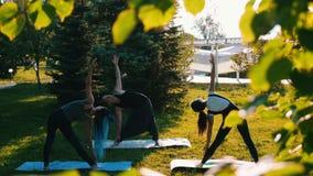 Jongeren die yoga buiten doen stock videobeelden