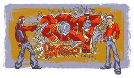 Jongeren in hoeden van Santa Claus-het schrijven graffiti 2017 Stock Foto's