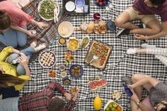 Jongeren tijdens picknick Stock Afbeelding