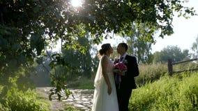 Jonggehuwden bij gang het stellen in zonsondergangzon stock video