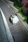 Jonggehuwden die onderaan steenstappen lopen Royalty-vrije Stock Foto's