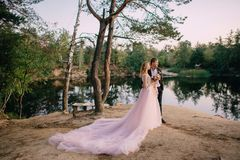 Jonggehuwden die zich op de meerkust bij zonsondergang bevinden Royalty-vrije Stock Afbeelding