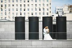 Jonggehuwden het omhelzen Royalty-vrije Stock Afbeelding