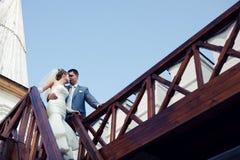 Jonggehuwden op de treden Stock Afbeelding