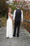 Jonggehuwden op een brug Stock Afbeeldingen