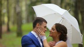 Jonggehuwden, paar van gelukkige jonggehuwden op de zomerpark stock footage
