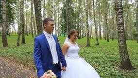 Jonggehuwden, paar van gelukkige jonggehuwden op een gang in de zomerpark stock footage