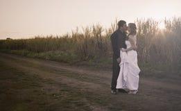 Jonggehuwdepaar in platteland Royalty-vrije Stock Foto