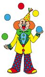 Jonglera clown på vitbakgrund Arkivfoton