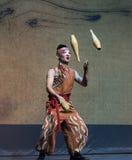 Jonglera teknik-akrobatisk showBaixidrömnatt royaltyfri bild