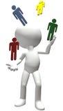 Jongleur jongliert Arbeitskräftepotenzialleutepersonal Stockfotos