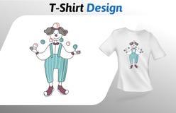 Jonglierende Bälle des Clowns, Kartonart-T-Shirt Druck Spott herauf T-Shirt Designschablone Vektorschablone, lokalisiert auf Weiß Stockbild