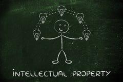 Jonglierende Ideen des lustigen Mannes, Konzept des geistigen Eigentums Stockfotos