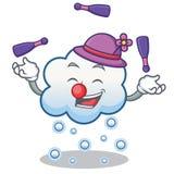 Jonglierende Schneewolken-Charakterkarikatur Stockbild