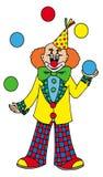 Jonglierender Clown auf weißem Hintergrund Stockfotos