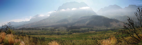Jonkershoek Panoramic. Panorama of the mountains at Jonkershoek, Stellenbosch, South Africa Royalty Free Stock Photo