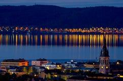 Jonkoping на ноче Швеция стоковые фото