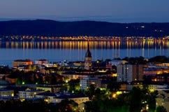Jonkoping bij nacht. Zweden royalty-vrije stock afbeeldingen