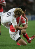 Jonny Wilkinson. Catch a tonga man during the qualification round of the Rugby World Cup 2007 between Tonga and England at the Parc des Prince on Spetember 28 Stock Images