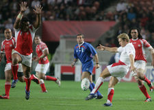 Jonny Wilkinson. Try a drop during the qualification round of the Rugby World Cup 2007 between Tonga and England at the Parc des Prince on Spetember 28, 2007 in Stock Image