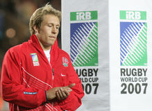 Jonny Wilkinson. At training during the qualification round of the Rugby World Cup 2007 between Tonga and England at the Parc des Prince on Spetember 28, 2007 Stock Images