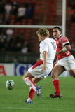 Jonny Wilkinson. Try a drop during the qualification round of the Rugby World Cup 2007 between Tonga and England at the Parc des Prince on Spetember 28, 2007 in Royalty Free Stock Image