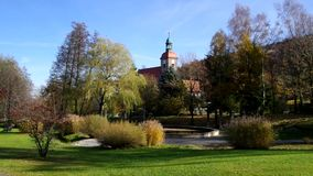 Jonsdorf Park and church stock video footage