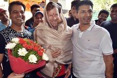 Jonty rhodes bes?k i Bhopal, Indien arkivfoton