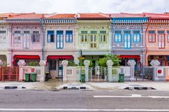 Colorful `Peranakan` House at Singapore. Joo Chiat, Singapore- February 2, 2017: Colorful `Peranakan` House. The word `Peranakan` used by the local people of royalty free stock photography