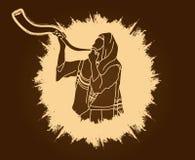 Jood die de shofar hoorn van schapenkudu blazen stock illustratie